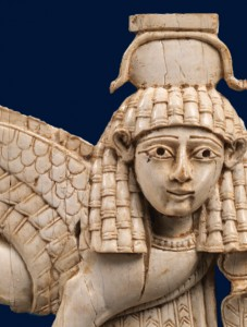 Syrian-style openwork plaque with a striding sphinx, ca. 9th–8th century B.C. Neo-Assyrian period. Mesopotamia, Nimrud (ancient Kalhu). Ivory. The Metropolitan Museum of Art, New York, Rogers Fund, 1964 (64.37.1)