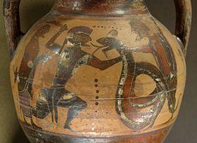 Cadmos et le dragon. Amphore à figures noires d'Eubée, v. 560-550 av. J.-C.. Musée du Louvre