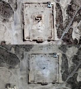 Vue satellitaire du Temple de Baal - Palmyre ©Le Monde/ AFP