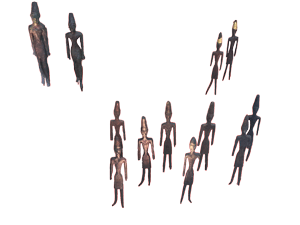 Des figurines masculines, dont quelques-unes sont recouvertes d'une feuille d'or, datées de l'âge du bronze moyen (2000-1500) et mises au jour à Byblos©OLJ